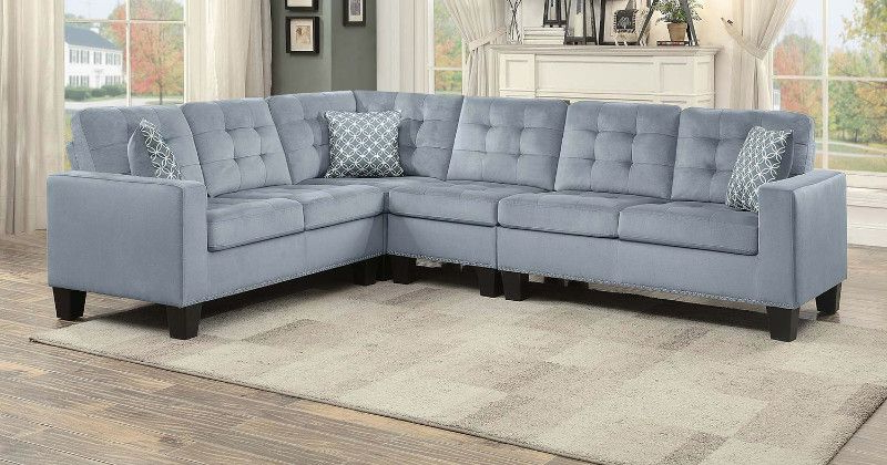 Home Elegance He 9957gy 2 Pc Lantana Gray Fabric Inside 2018 2pc Polyfiber Sectional Sofas With Nailhead Trims Gray (View 3 of 20)