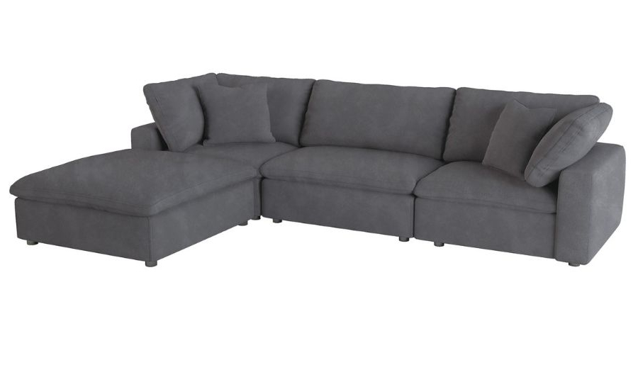 Homelegance 9546gy 4pc 4 Pc Guthrie Gray Fabric Down With Most Up To Date 4pc Beckett Contemporary Sectional Sofas And Ottoman Sets (View 13 of 20)