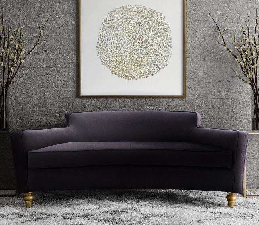 Horchow Style Black Velvet Mid Century Glam Curved Sofa Pertaining To Famous Florence Mid Century Modern Velvet Left Sectional Sofas (View 15 of 20)