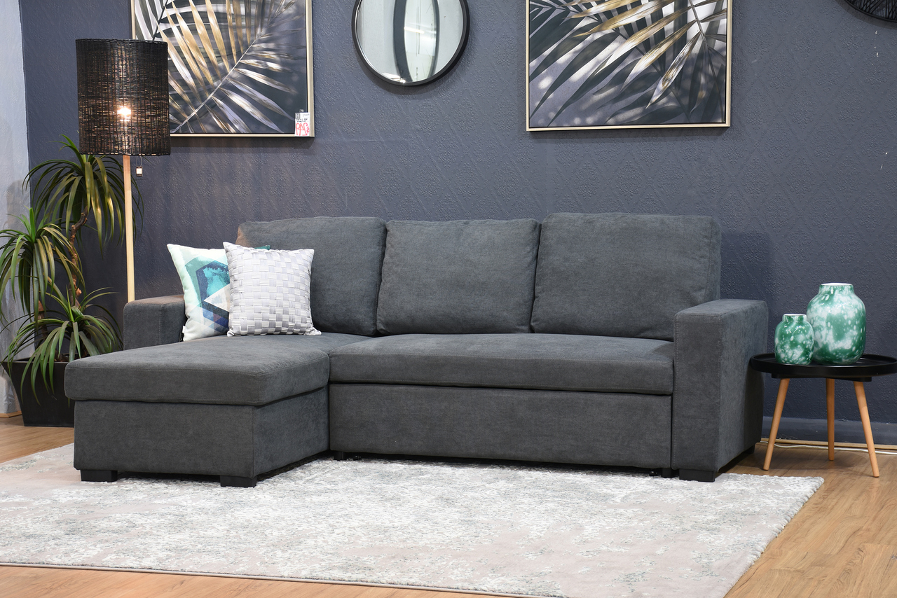 Hugo Chenille Upholstered Storage Sectional Futon Sofas Within Best And Newest Hugo Storage Chaise Lounge With Pull Out Sofa Bed Dark (View 8 of 20)