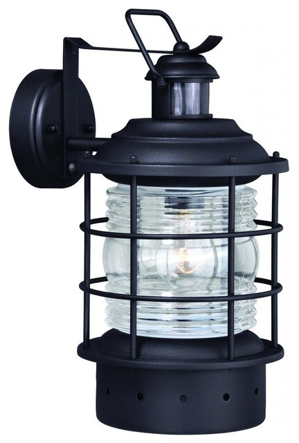 Hyannis Black Motion Sensor Dusk To Dawn Coastal Outdoor Pertaining To Famous Ballina Matte Black Outdoor Wall Lanterns With Dusk To Dawn (View 4 of 20)