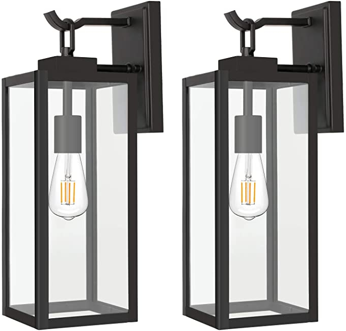 Hykolity Outdoor Wall Lantern With St19 Led Bulb, 2700k Inside Trendy Ballina Matte Black Outdoor Wall Lanterns With Dusk To Dawn (View 10 of 20)