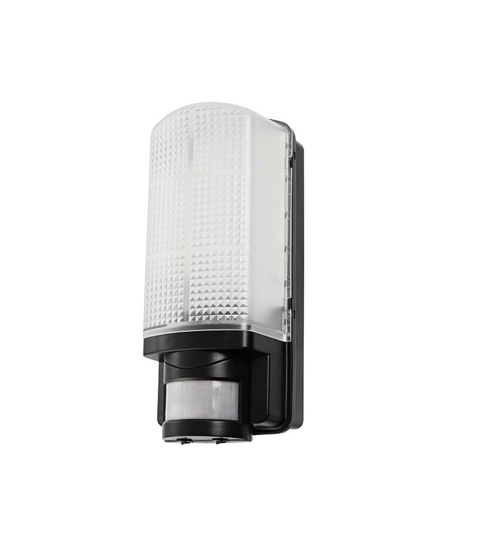 Integrated Led Pir 1 Light Outdoor Wall Light Frosted In Current Vernie Black Integrated Led Outdoor Bulkhead Lights (View 15 of 20)