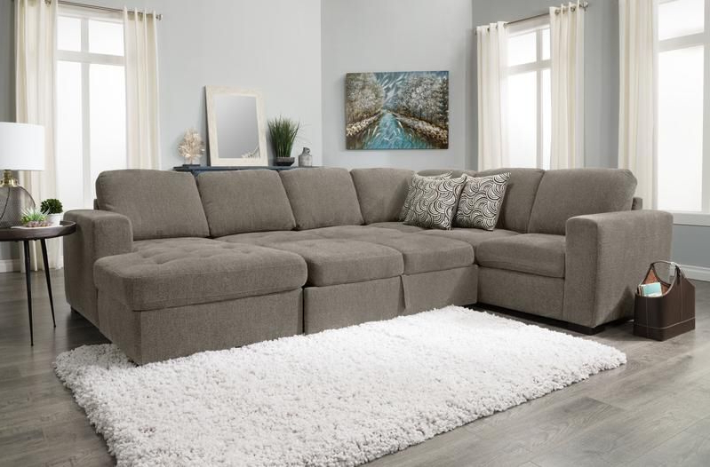 Izzy 3 Piece Chenille Right Facing Sleeper Sectional With In 2018 Hugo Chenille Upholstered Storage Sectional Futon Sofas (View 1 of 20)