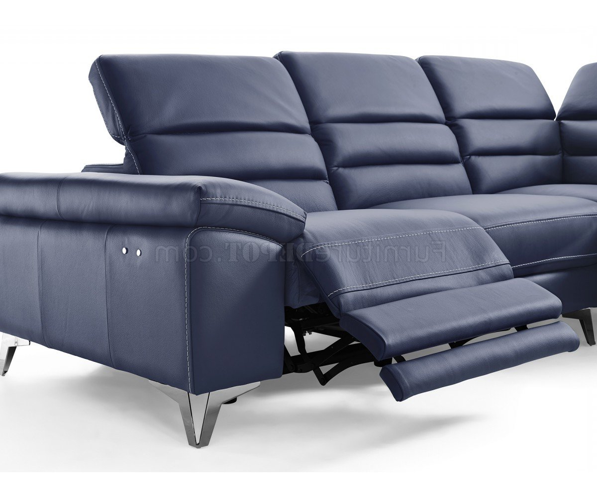Johnson Power Motion Sectional Sofa In Navy Leather For Well Liked Bloutop Upholstered Sectional Sofas (View 2 of 20)