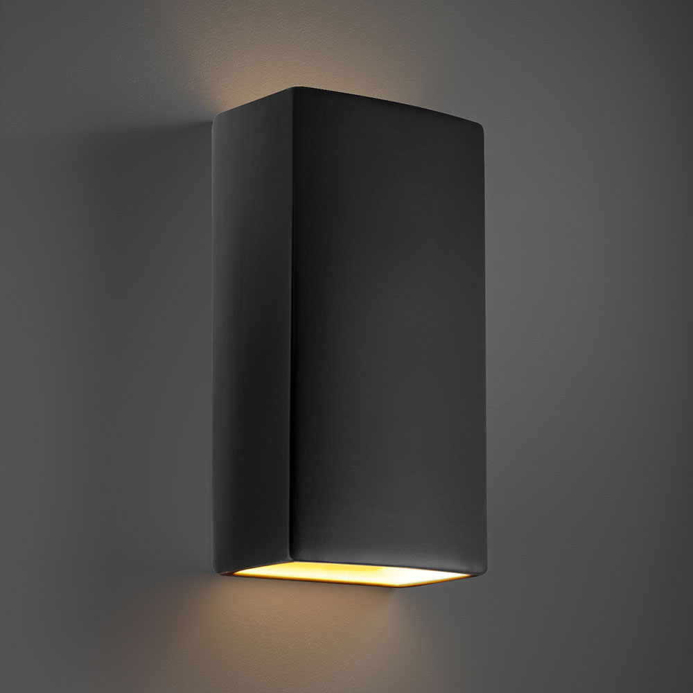 Justice Design Cer 1175w Crb Ambiance Rectangle Inside Favorite Mccay Matte Black Outdoor Wall Lanterns (View 15 of 20)
