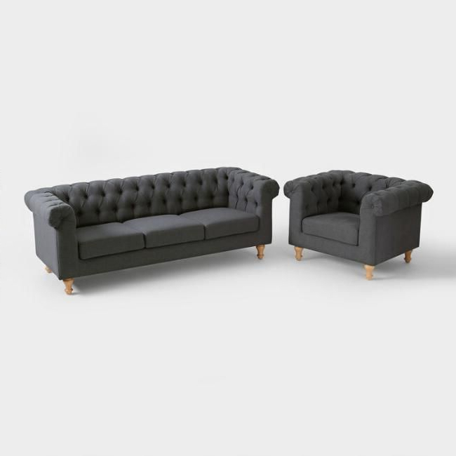 Katie Charcoal Sofas With Most Popular Charcoal Gray Quentin Chesterfield Seating Collection – V (View 18 of 20)
