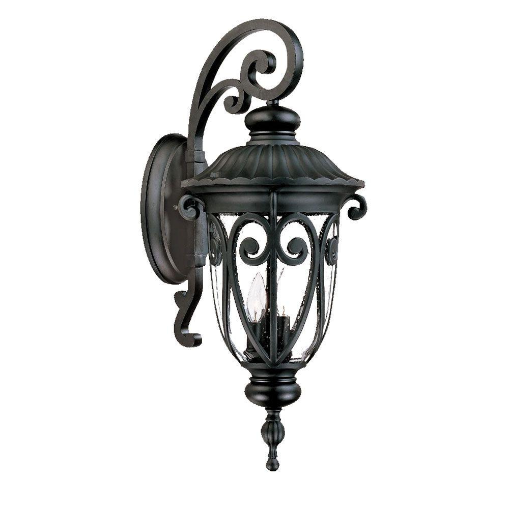 Keiki Matte Black Outdoor Wall Lanterns Throughout Well Known Acclaim Lighting Naples Collection 3 Light Matte Black (View 3 of 20)