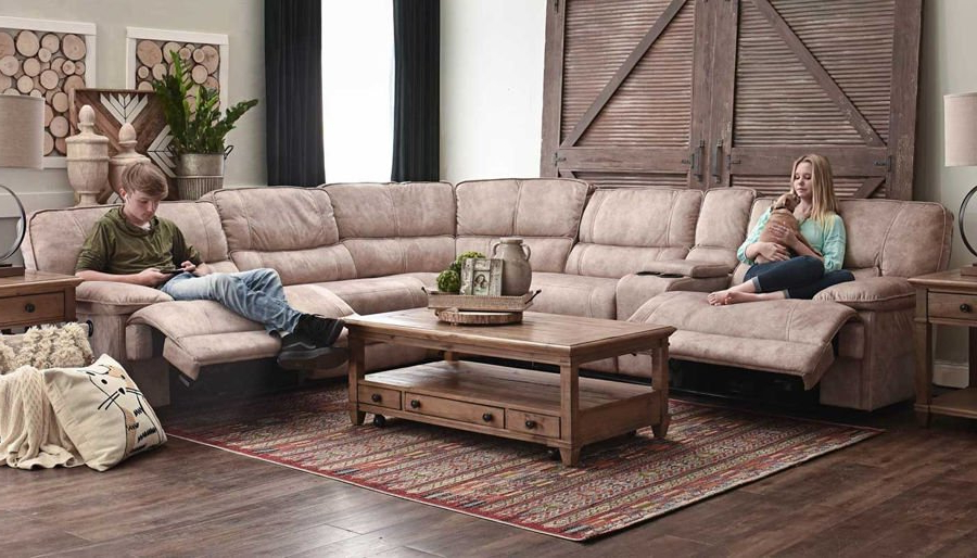 Kennedy Ii Brown Power Sectional – Home Zone Furniture For Most Popular Forte Gray Power Reclining Sofas (View 14 of 20)