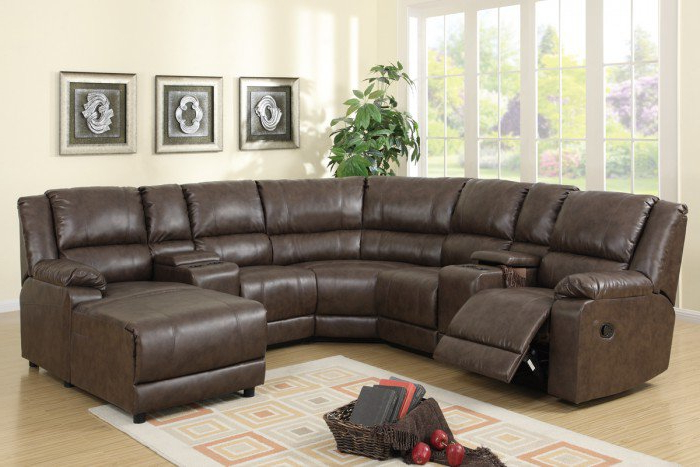 Kiefer Right Facing Sectional Sofas Throughout Current Light Coffee Plush Faux Leather Reclining Sectional Sofa W (View 13 of 20)