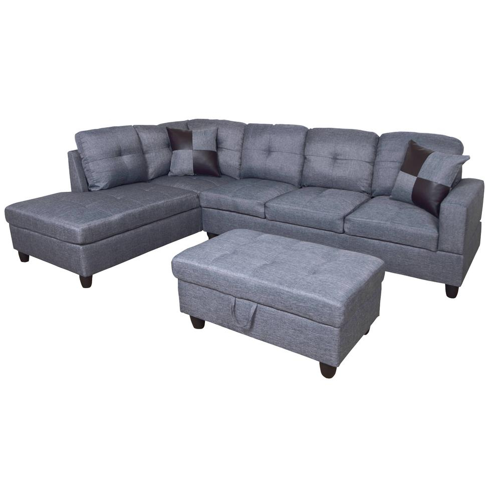 Kiefer Right Facing Sectional Sofas Within Most Up To Date Star Home Living Dark Gray Microfiber 3 Seater Right (View 3 of 20)