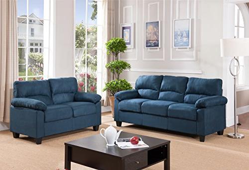 Kings Brand Furniture Blue Microfiber Living Room Set Inside Fashionable Artisan Blue Sofas (View 9 of 20)