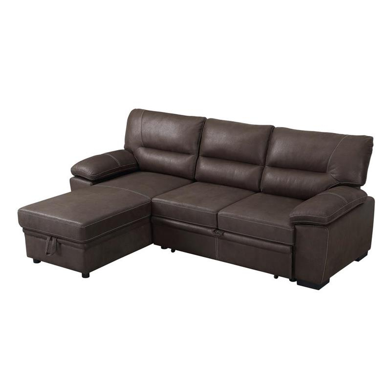 Kipling Brown Microfiber Reversible Sleeper Sectional Sofa Regarding Preferred Palisades Reversible Small Space Sectional Sofas With Storage (View 10 of 20)
