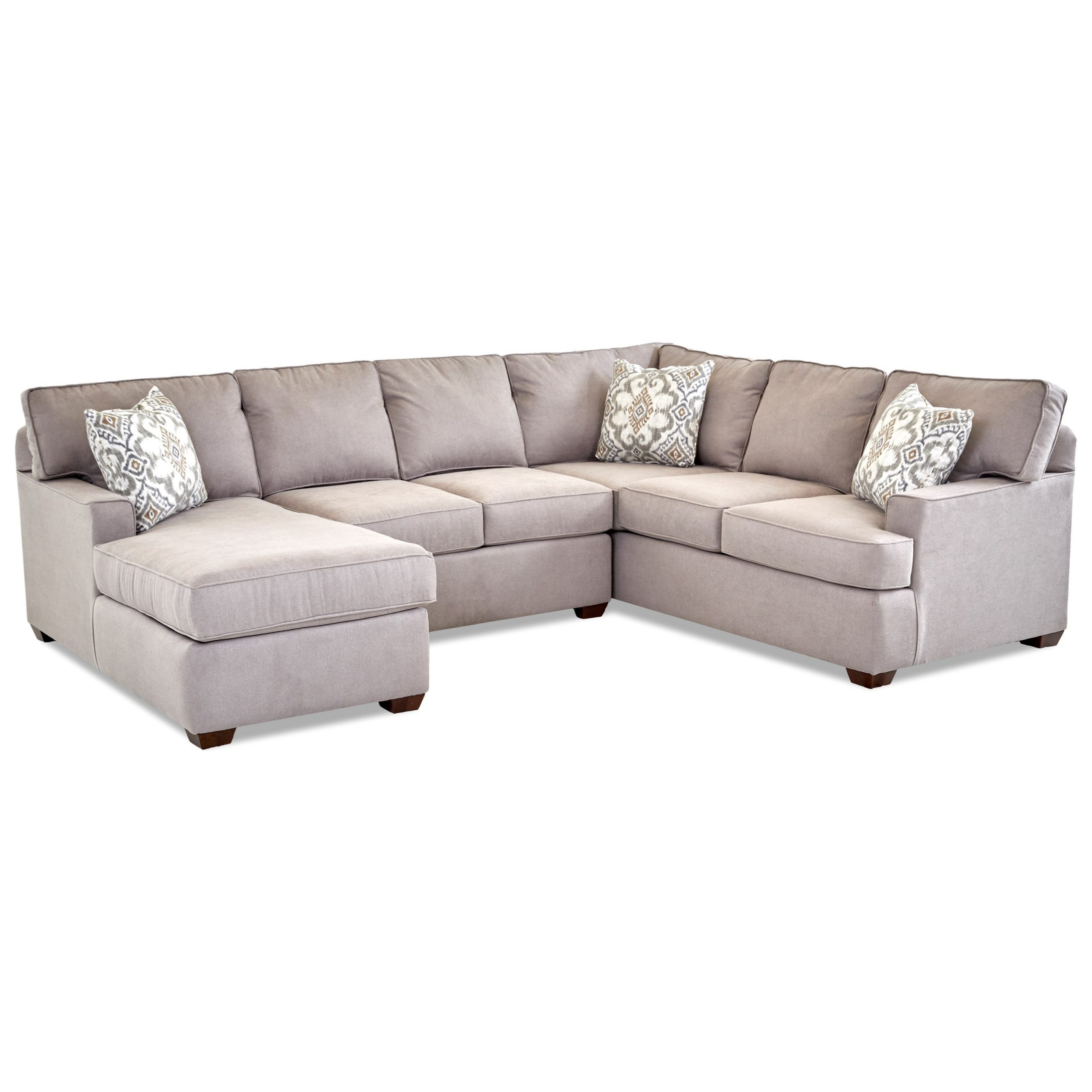 Klaussner Pantego 3 Piece Sectional Sofa With Raf Chaise In Famous 3pc Miles Leather Sectional Sofas With Chaise (View 1 of 20)
