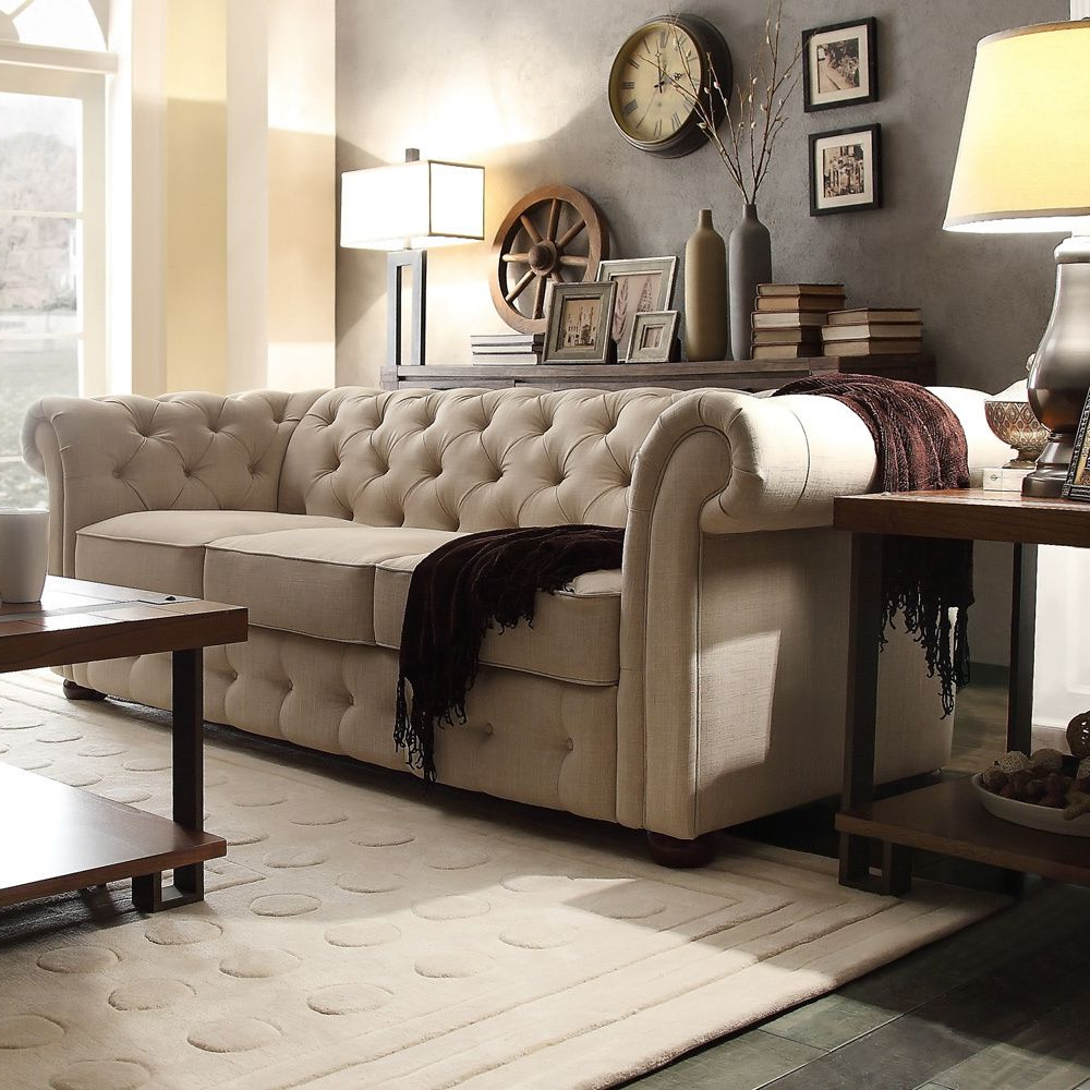 Knightsbridge Beige Fabric Button Tufted Chesterfield Sofa With Most Up To Date Artisan Beige Sofas (View 10 of 20)