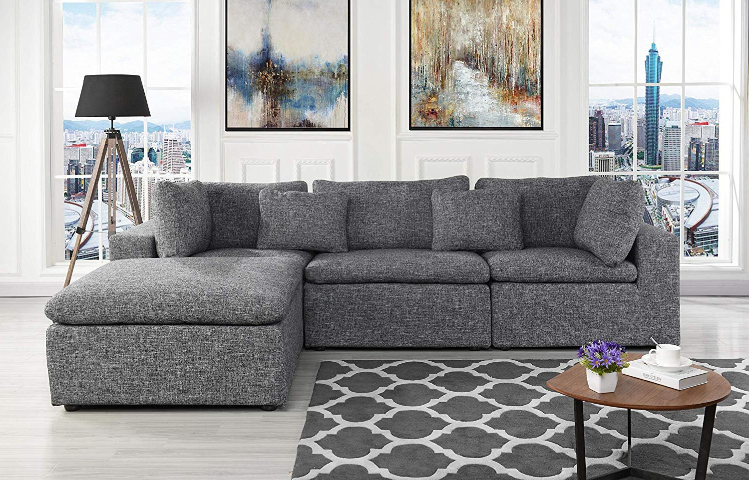 Large Linen Fabric Sectional Sofa, L Shape Couch With Wide Within Preferred 2pc Crowningshield Contemporary Chaise Sofas Light Gray (View 1 of 20)