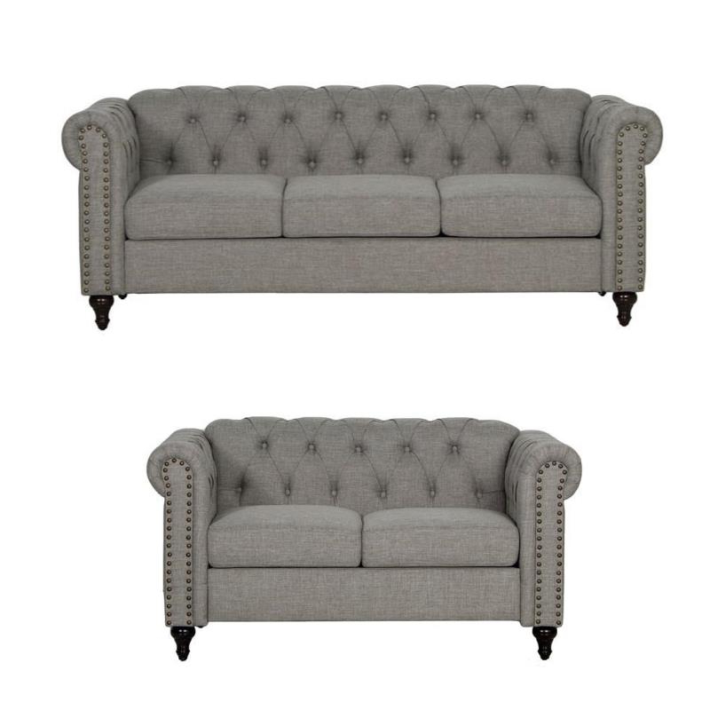 Latest 2 Piece Nailhead Trim Sofa And Loveseat Set In Gray Inside 2pc Polyfiber Sectional Sofas With Nailhead Trims Gray (View 16 of 20)