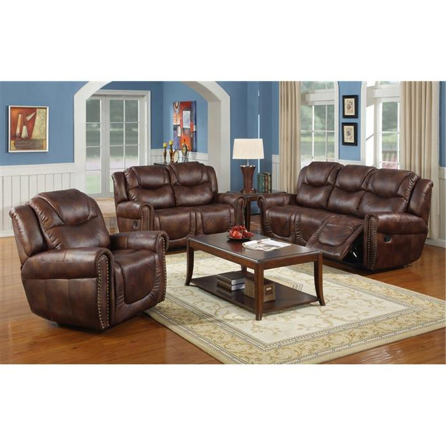 Latest 3pc Bonded Leather Upholstered Wooden Sectional Sofas Brown With Lifestyle Furniture Lsfgs3700 3 Piece Luxurious Reclining (View 4 of 20)