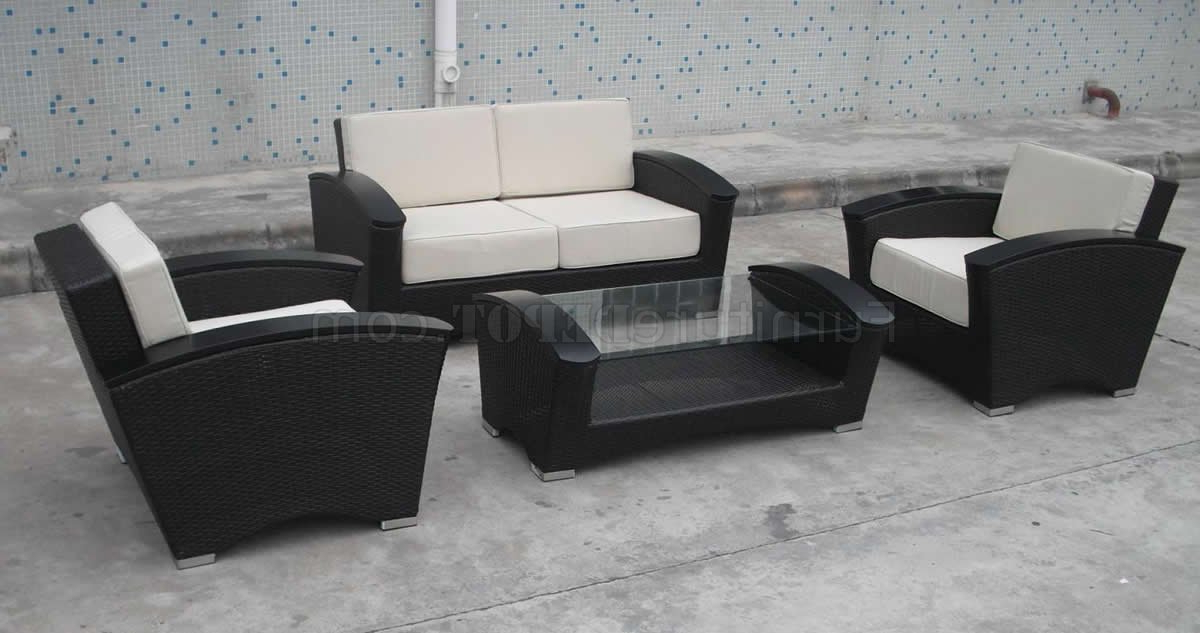 Latest 4pc Beckett Contemporary Sectional Sofas And Ottoman Sets Regarding Chocolate Whicker Modern 4pc Two Tone Outdoor Sofa Set (View 6 of 20)