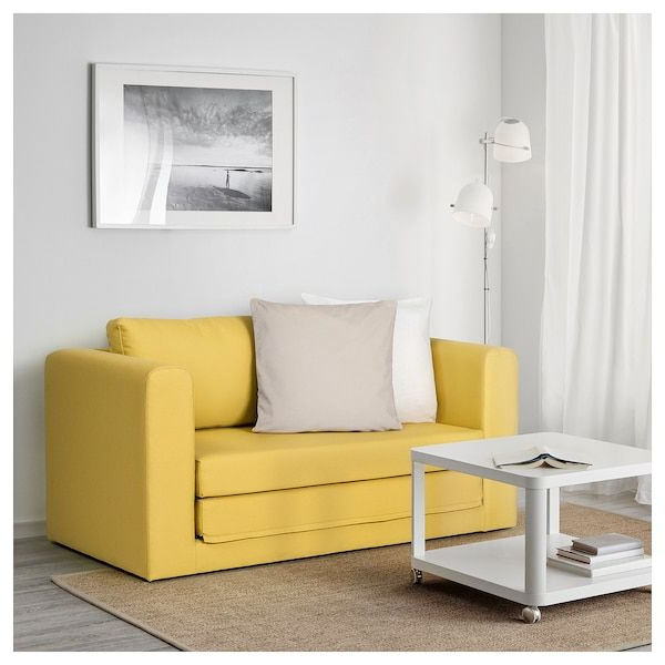 Latest Easton Small Space Sectional Futon Sofas Pertaining To Askeby Gräsbo Golden Yellow, 2 Seat Sofa Bed – Ikea (View 4 of 20)