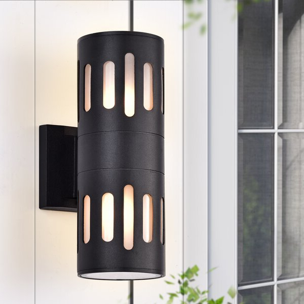 Latest Edith 2 Bulb Outdoor Armed Sconces With Regard To Orren Ellis Black 2 – Bulb  (View 19 of 20)