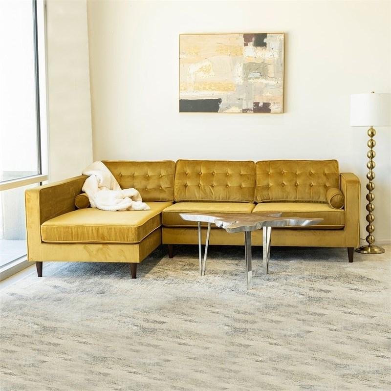 Latest Florence Mid Century Modern Velvet Right Sectional Sofas Pertaining To Mid Century Modern Owen Gold Velvet Sectional Sofa Right (View 20 of 20)