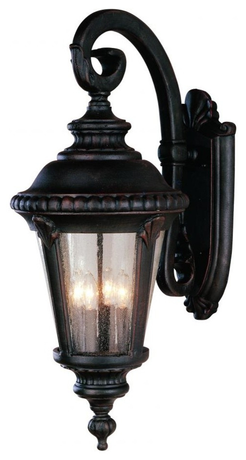 Latest Four Light Black Clear Seeded Glass Wall Lantern With Regard To Cherryville Black Seeded Glass Outdoor Wall Lanterns (View 7 of 20)