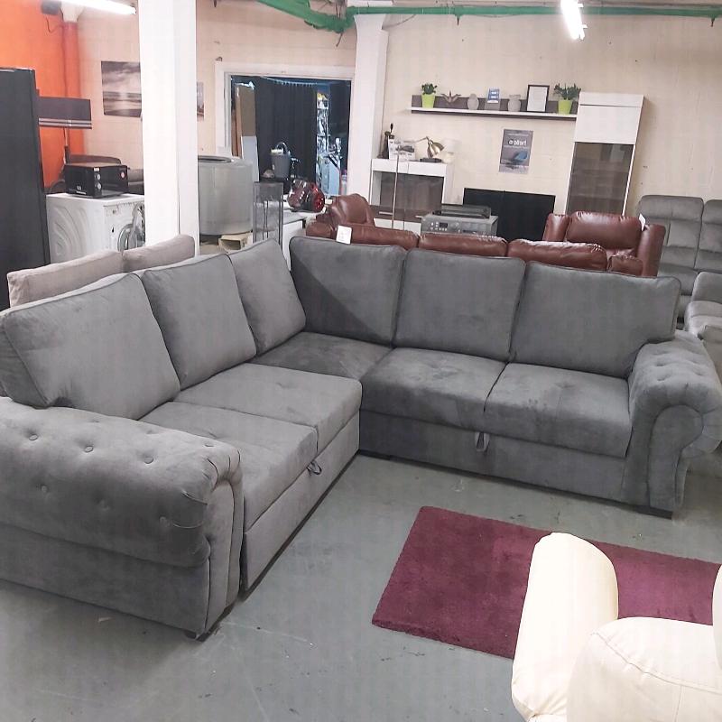 Latest Grey Fabric Corner Sofa Bed + Storage (View 1 of 20)