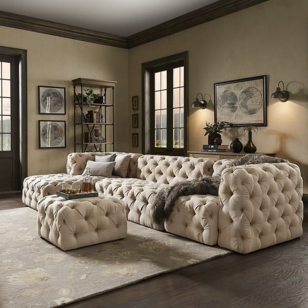 Latest Knightsbridge Ii Beige Linen Tufted Chesterfield Modular L With Artisan Beige Sofas (View 6 of 20)