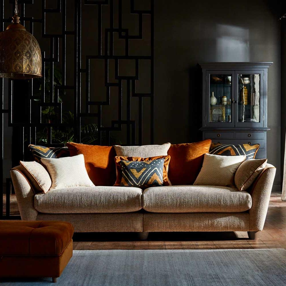 Latest Lyvia Pillowback Sofa Sectional Sofas Regarding Aztec 3 Seater Pillow Back Sofa • Glasswells • Bury St (View 19 of 20)