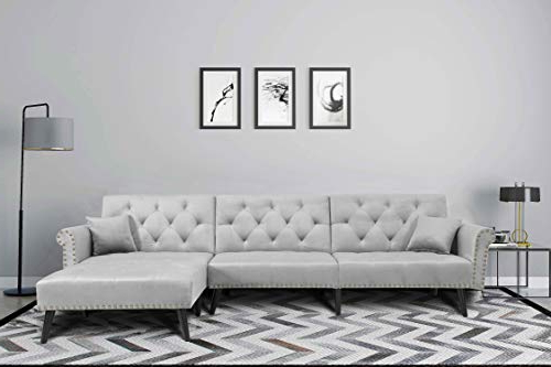 Latest Mid Century Upholstered Sectional Sofa Futon Couch With Pertaining To Verona Mid Century Reversible Sectional Sofas (View 20 of 20)
