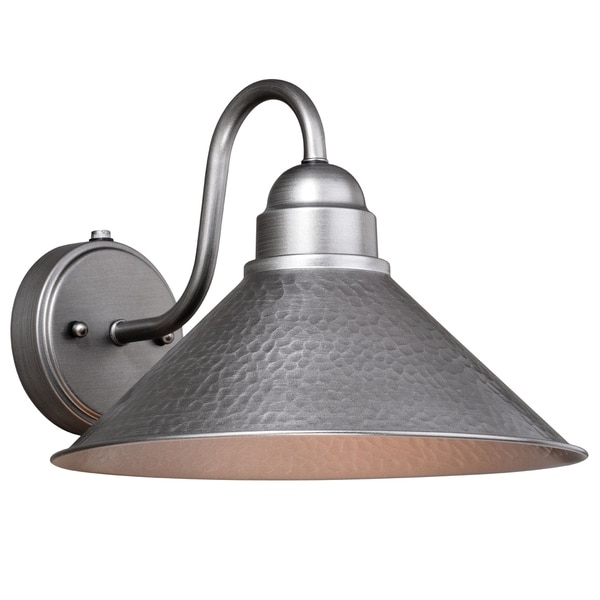 Latest Outland 1 Light Dusk To Dawn Pewter Farmhouse Barn Dome Within Gunnora Outdoor Barn Lights With Dusk To Dawn (View 12 of 20)