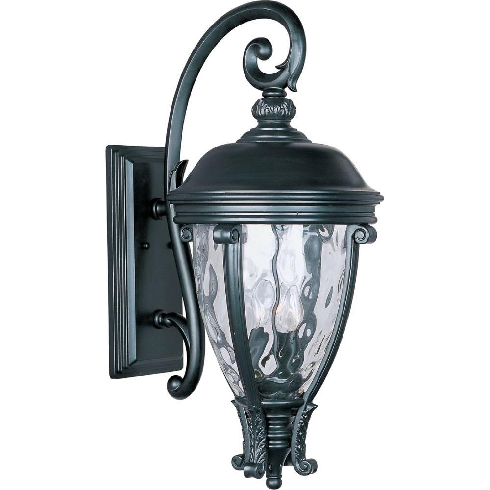 Latest Roden Black 3 Bulb Outdoor Wall Lanterns Intended For Maxim Lighting Camden Vivex 3 Light Black Outdoor Wall (View 13 of 20)