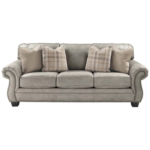 Latest Shop Nailhead Trim Leatherette Queen Size Sofa Sleeper Intended For 2pc Polyfiber Sectional Sofas With Nailhead Trims Gray (View 2 of 20)