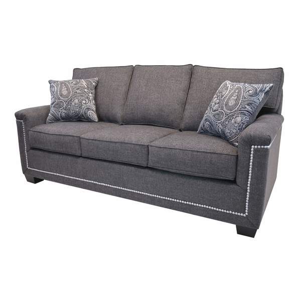 Latest Simone Grey Fabric Sofa With Nailhead Trim – Overstock Within 2pc Polyfiber Sectional Sofas With Nailhead Trims Gray (View 9 of 20)