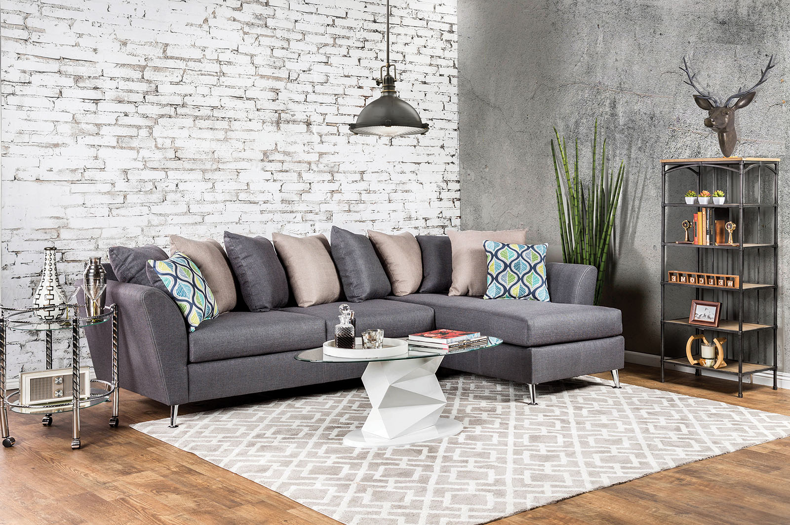 Latest Sm6201 Gray Loose Pillow Back Multi Color Sectional Sofa For Noa Sectional Sofas With Ottoman Gray (View 13 of 20)