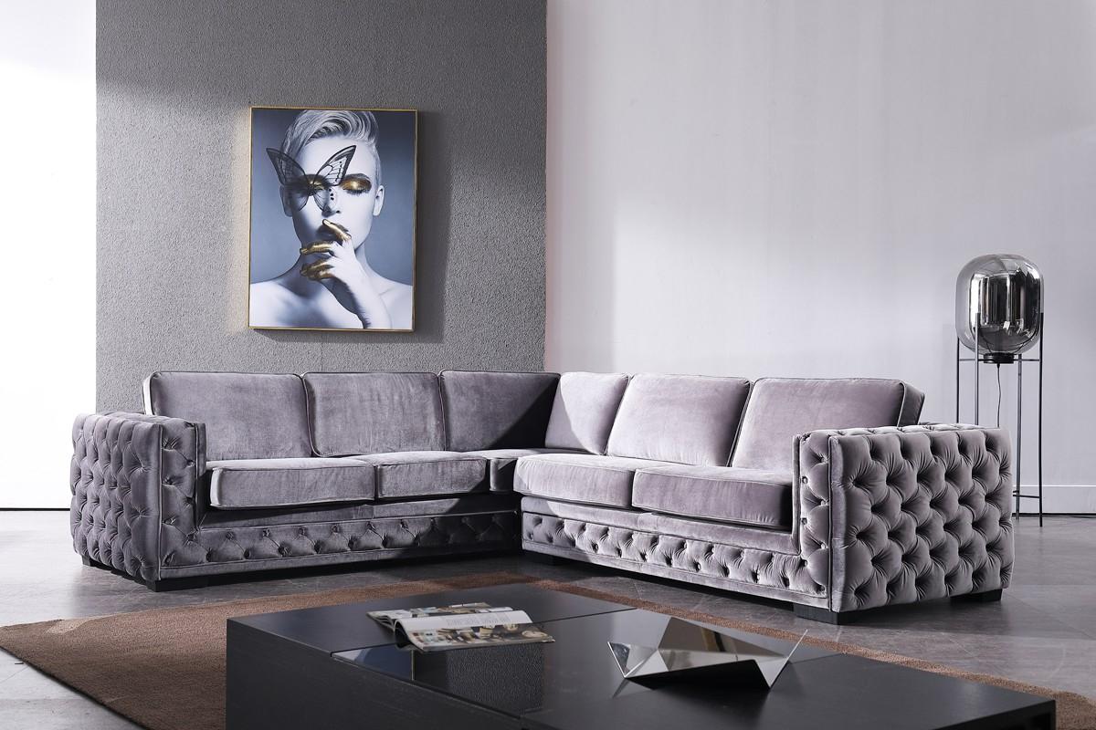 Latest Strummer Velvet Sectional Sofas Pertaining To Divani Casa Jean Modern Grey Velvet Sectional Sofa (View 5 of 20)