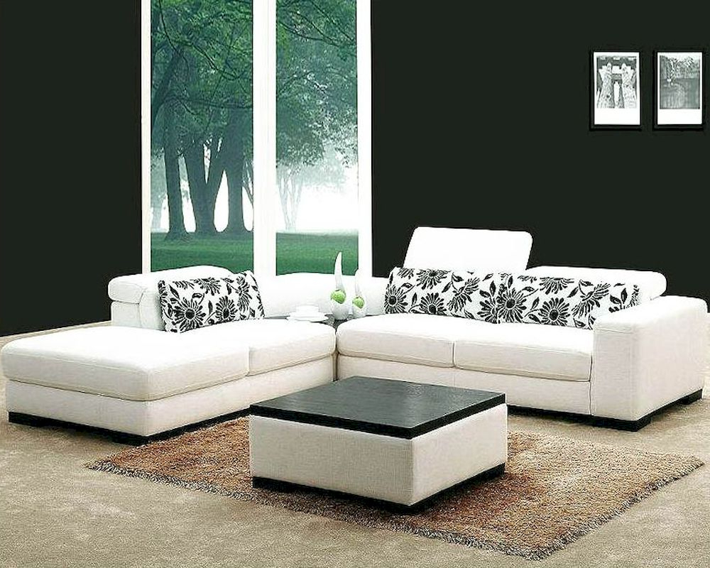 Latest White Fabric 4pc Modern Sectional Sofa Set 44l0867 With 4pc Beckett Contemporary Sectional Sofas And Ottoman Sets (View 16 of 20)