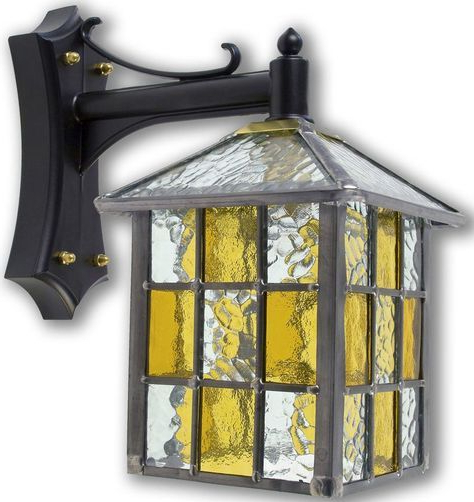 Ledbury Leaded Amber Stained Glass Square Outdoor Wall Intended For 2018 Powell Beveled Glass Outdoor Wall Lanterns (View 13 of 20)