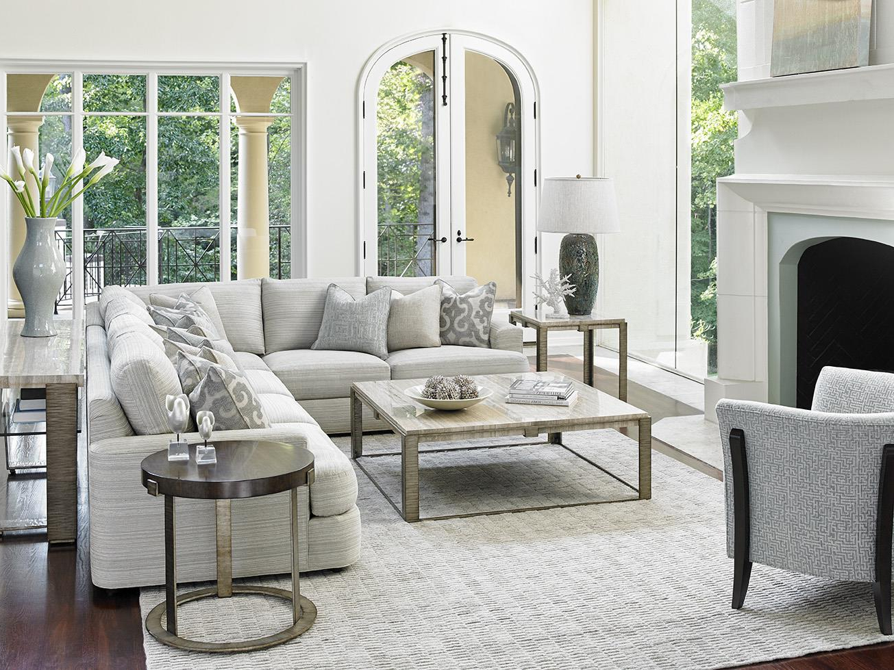 Lexington Laurel Canyon Halandale Two Piece Sectional Sofa Intended For Popular Laurel Gray Sofas (View 20 of 20)