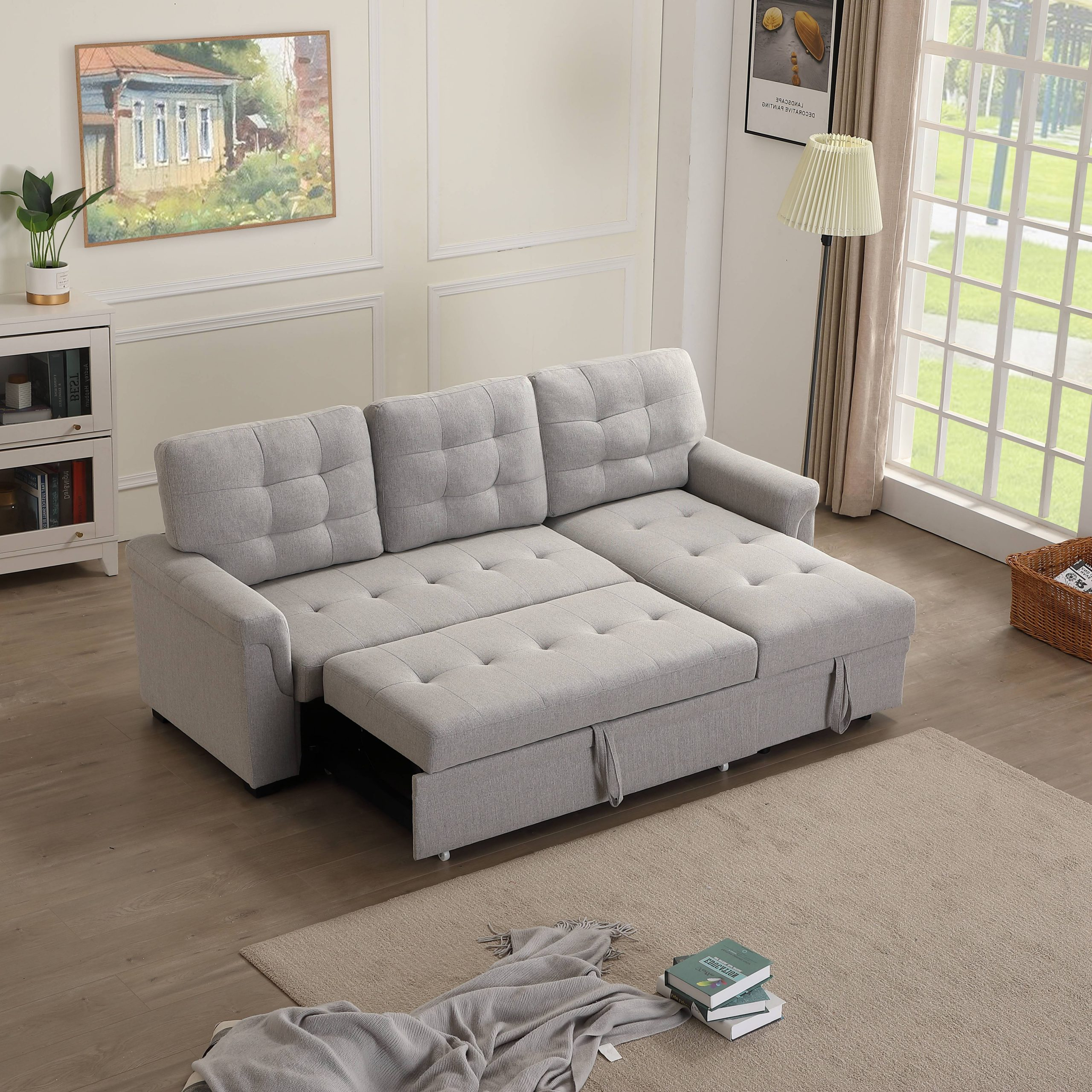 Liberty Sectional Futon Sofas With Storage Pertaining To Most Recently Released Upholstery Twin Sleeper Tufted Sofa Bed For Livingroom,  (View 14 of 20)