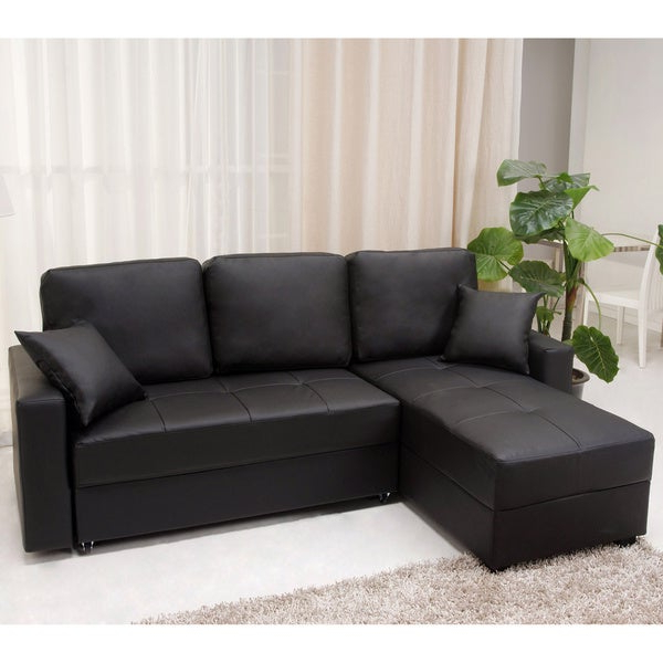 Liberty Sectional Futon Sofas With Storage Pertaining To Well Liked Shop Aspen Black Convertible Sectional Storage Sofa Bed (View 13 of 20)