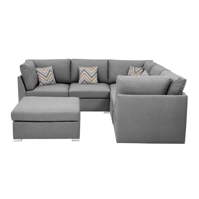 Lilola Home Amira Fabric Reversible Sectional Sofa With Intended For Most Popular Clifton Reversible Sectional Sofas With Pillows (View 13 of 20)