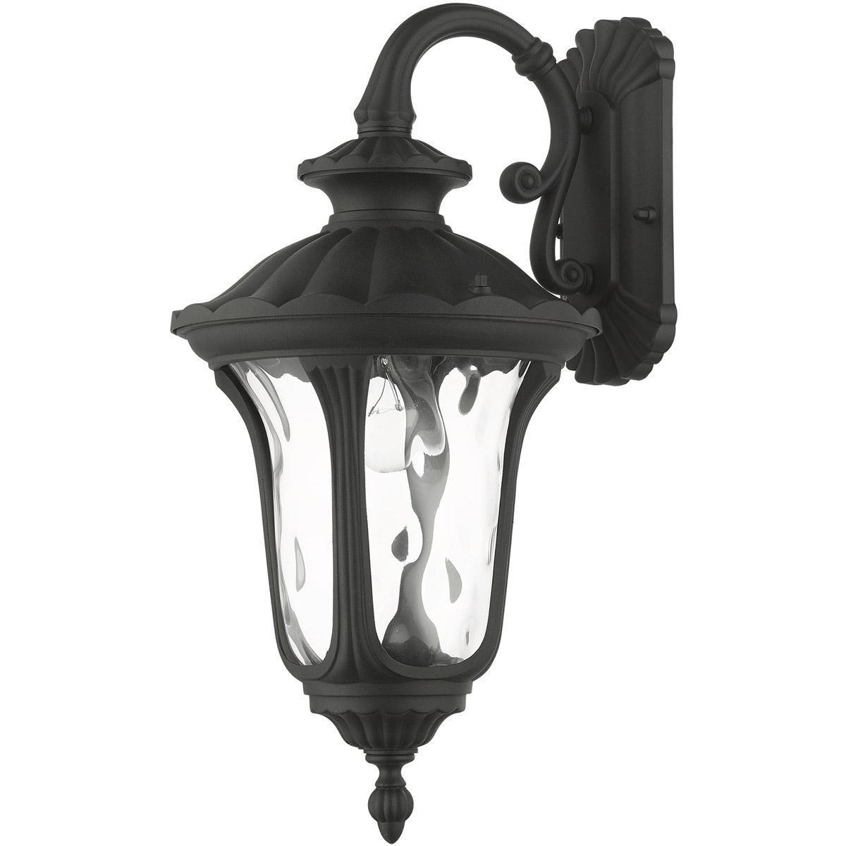 Livex 7851 14 Oxford 1 Light 16 Inch Textured Black Regarding Most Recent Gillian 3 – Bulb Beveled Glass Outdoor Wall Lanterns (View 10 of 20)