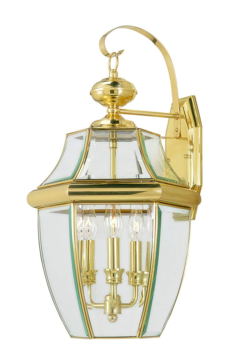 Livex Lighting 2351 02 Monterey 3 Light Outdoor Polished Regarding Fashionable Chicopee Beveled Glass Outdoor Wall Lanterns (View 13 of 20)