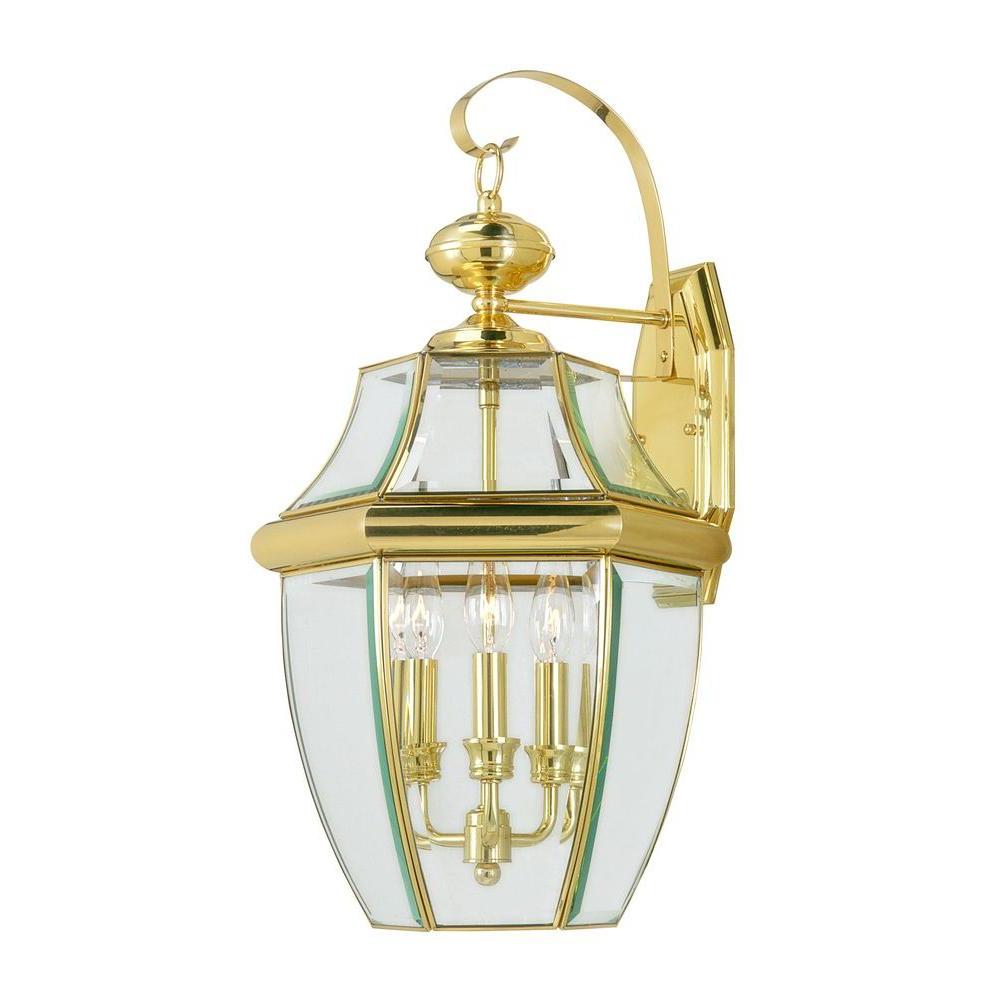 Livex Lighting 3 Light Bright Brass Outdoor Wall Lantern Regarding Most Popular Carrington Beveled Glass Outdoor Wall Lanterns (View 10 of 20)