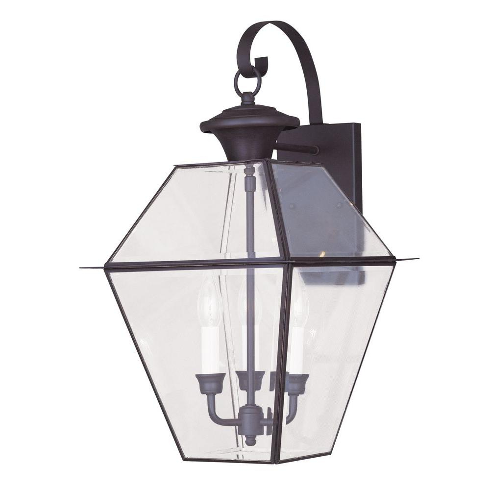 Livex Lighting 3 Light Bronze Outdoor Wall Lantern With Within Latest Meunier Glass Outdoor Wall Lanterns (View 9 of 20)