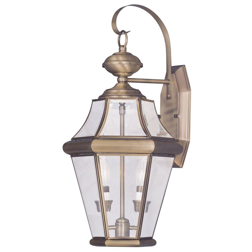 Livex Lighting Providence 2 Light Antique Brass Outdoor With Fashionable Faunce Beveled Glass Outdoor Wall Lanterns (View 4 of 20)