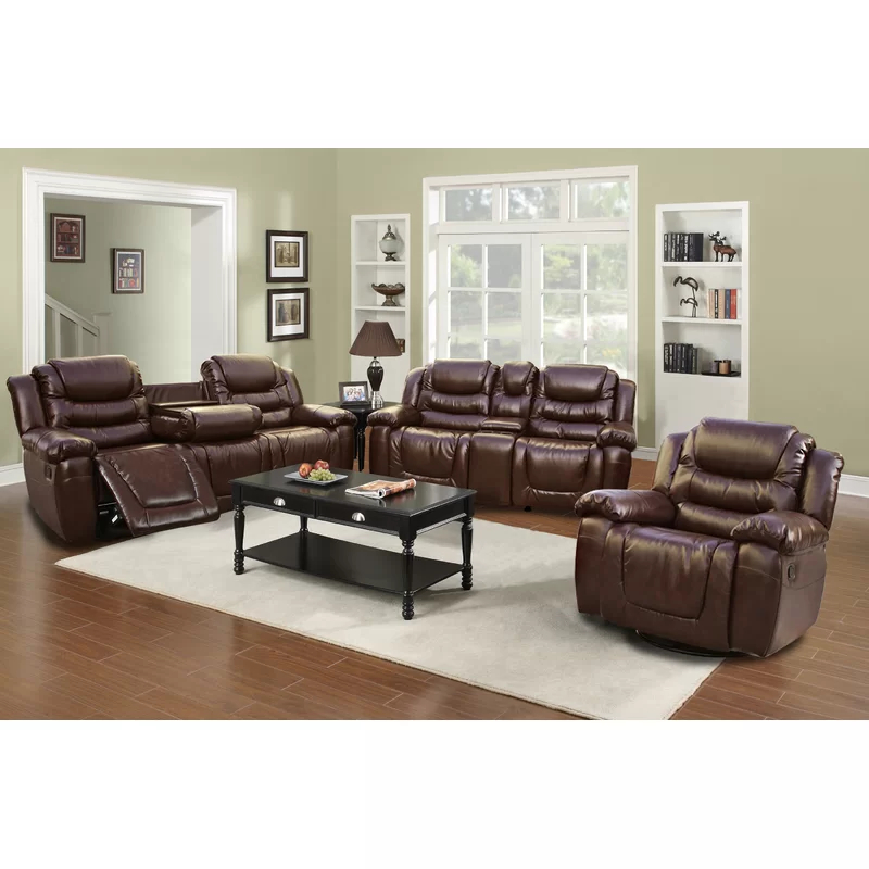 Living For Bonded Leather All In One Sectional Sofas With Ottoman And 2 Pillows Brown (View 12 of 20)