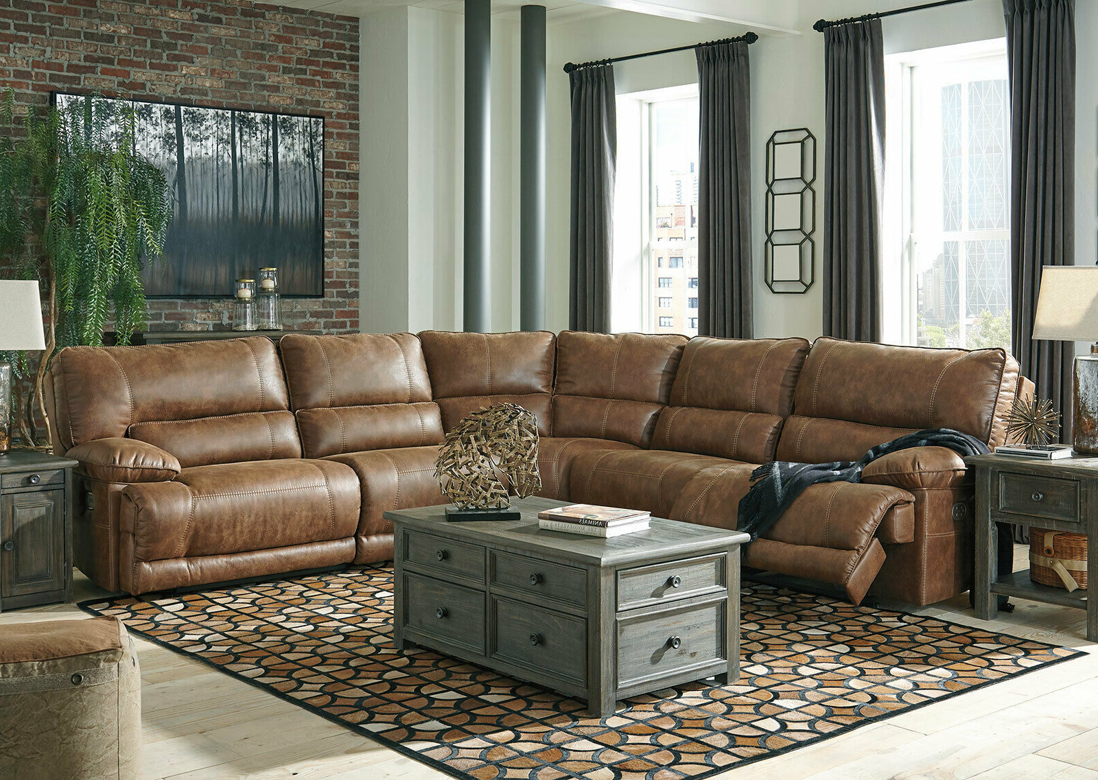 Living Room 5 Piece Sectional Brown Faux Leather Power In Well Known 3pc Faux Leather Sectional Sofas Brown (View 20 of 20)